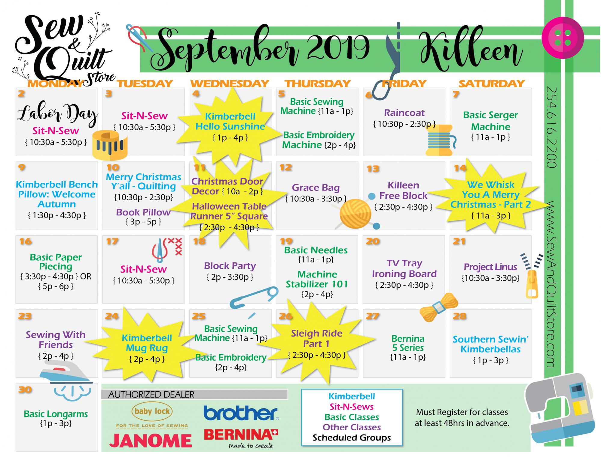 September 2019 Killeen Sew & Quilt Class Calendar