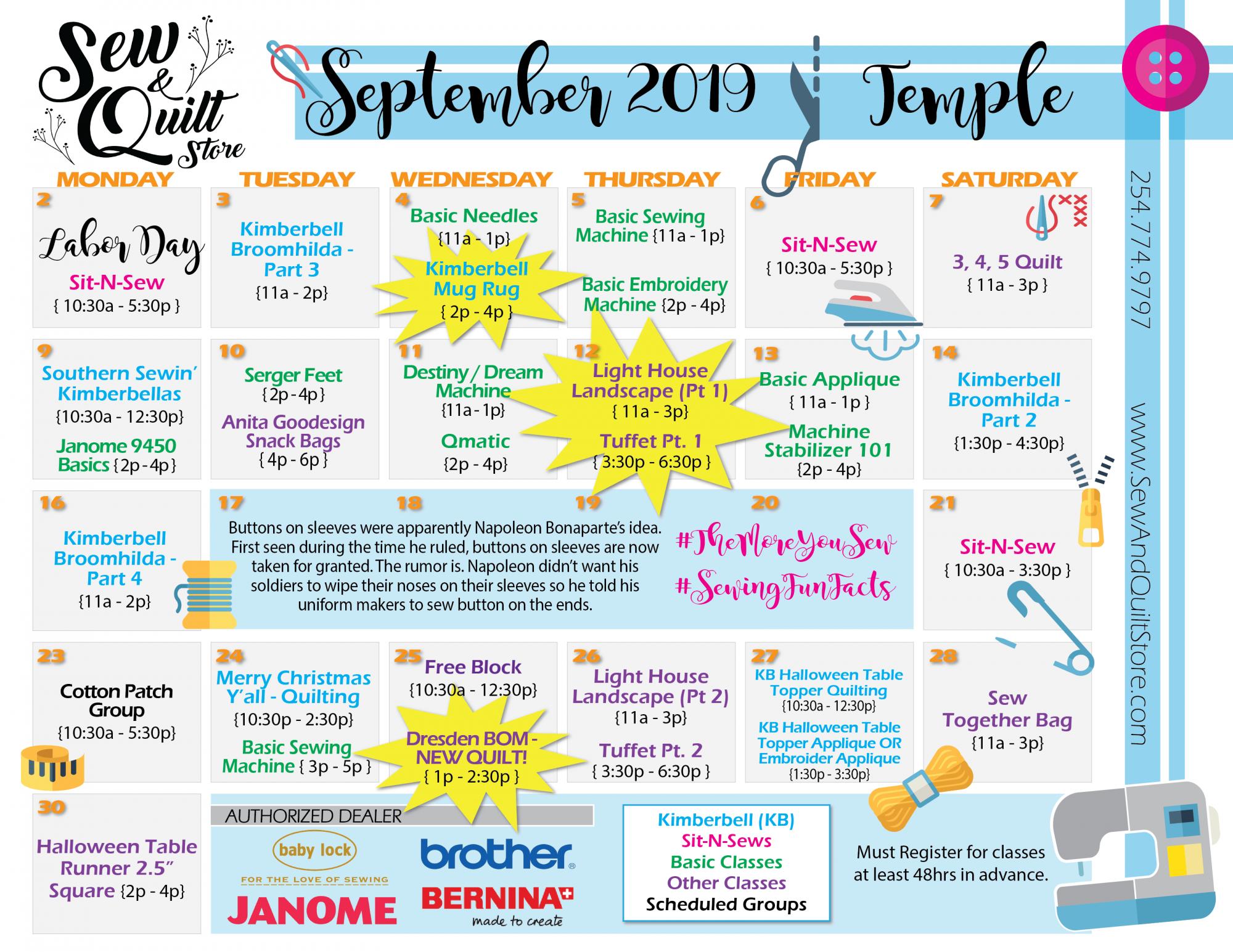 September 2019 Temple Sew & Quilt Class Calendar