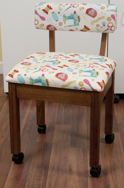 Arrow Sewing Chair Oak 7000 White Notions Fabric
