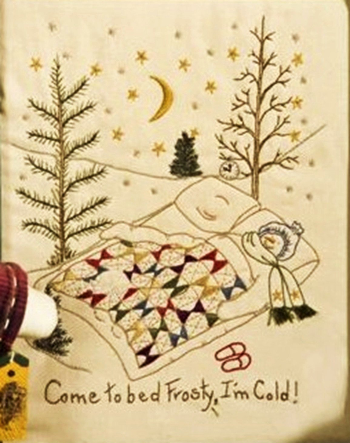 Come To Bed Frosty, I'm Cold Machine Embroidery