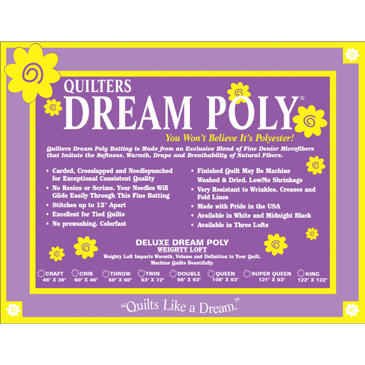 Quilters Dream Poly Deluxe Weighty Loft - Throw