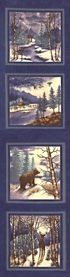Winter Forest Panel  Indigo