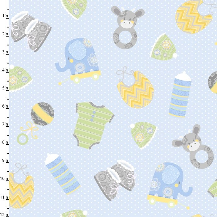 Precious Baby Blue Tossed Toys Flannel