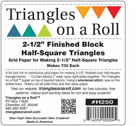 on a Roll 700 Half SqTriangles uare Triangle Blocks 2-1/2 Finished Square