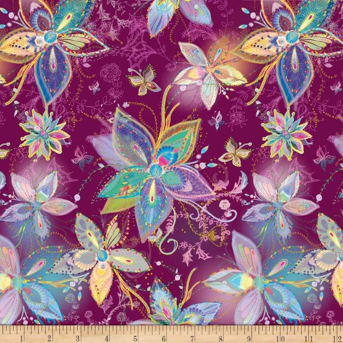 Enchanted Large Floral 26774-V Plum