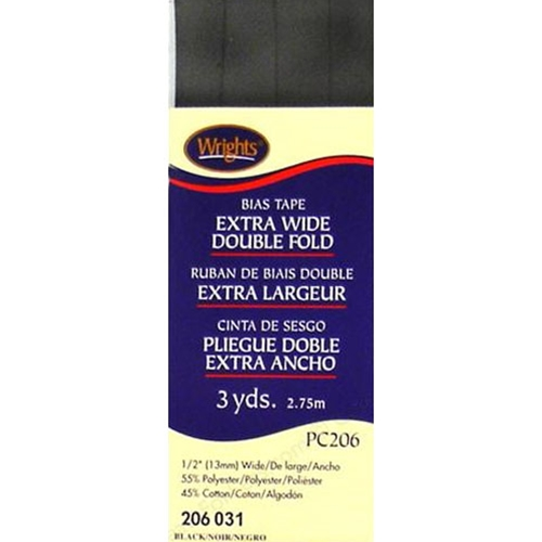 Bias Tape Extra Wide Double Fold  031 Black