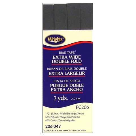 Bias Tape Extra Wide Double Fold 047 Dark Grey