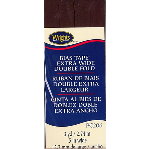 Bias Tape Extra Wide Double Fold 092 Seal Brown