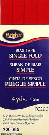 Bias Tape Single Fold 065 Red
