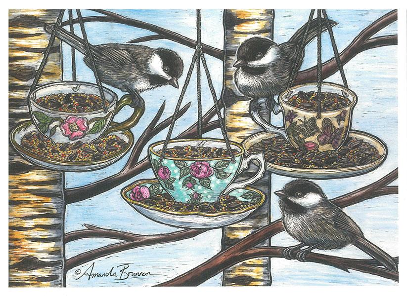 Chickadee-dee-dee Tea Card