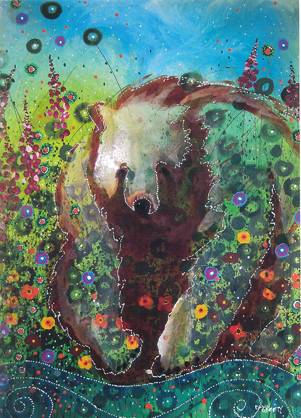 Grizzly Bear In Fireweed Card