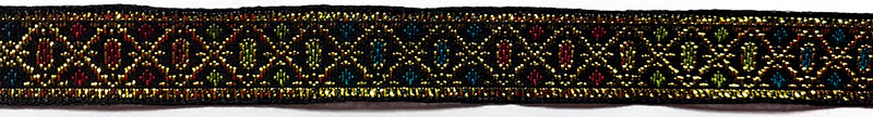 5/8 Woven Trim Jacquard Met/Poly/Ray - Black Gold Green Apple Turquoise Cranberry