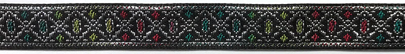 5/8 Woven Trim Jacquard Met/Poly/Ray - Black Silver Apple Turquoise Cranberry