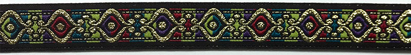 5/8 Woven Trim Jacquard Poly/Metallic - Black Gold Red Purple Turquoise Lime