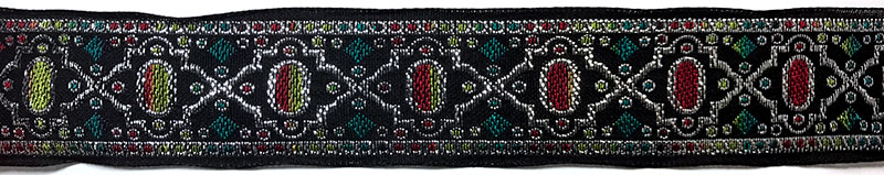 1 1/2 Woven Trim Jacquard Poly/Metallic/Ray - Black Silver Apple Turquoise Cranberry