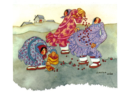 Gathering Berries Card by Barbara Lavalle