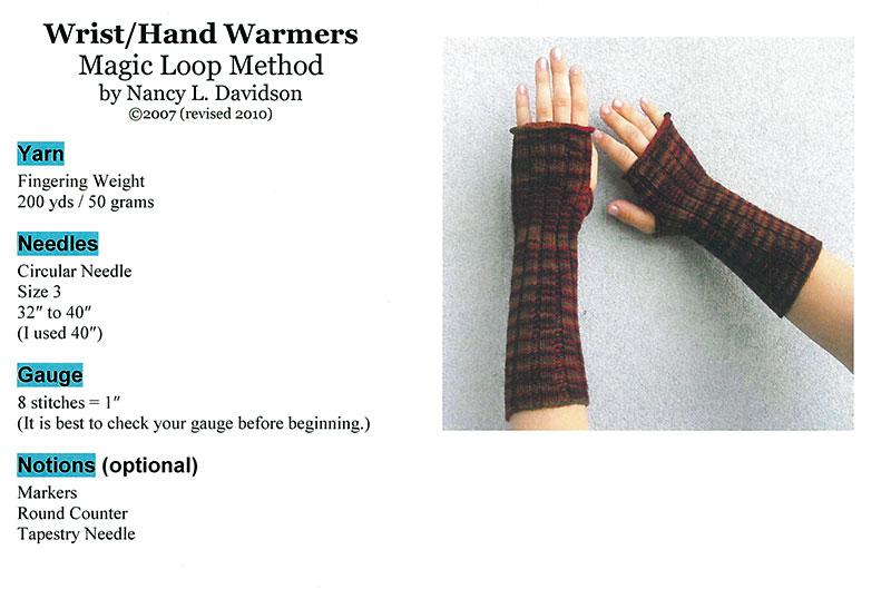 Wrist / Hand Warmers Pattern by Nancy L. Davidson