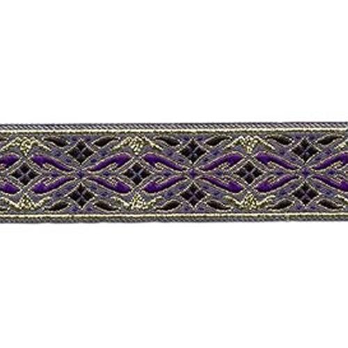 7/8 Woven Trim Diamonds Purple/Gold