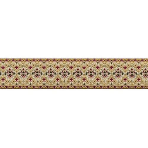 1 1/8 Woven Trim Ivory/Gold/Multi