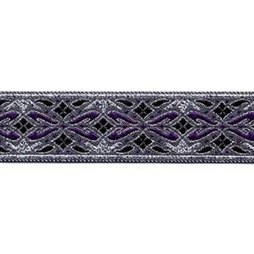 7/8 Woven Trim Diamonds Purple/Silver