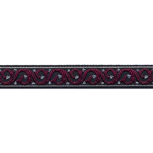 1/2 Woven Trim Scroll Black/Red/Gold Scroll