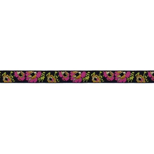 1/2 Woven Trim Roses Black/Hot Pink