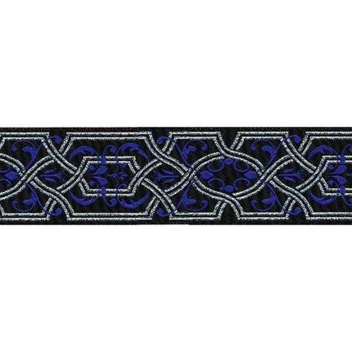 1 1/2 Woven Trim Black/Royal/Silver