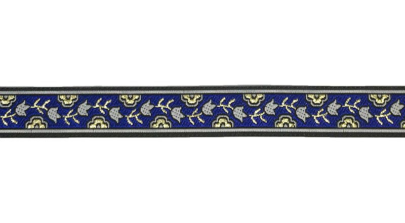 5/8 Woven Trim Royal/Black/Gold