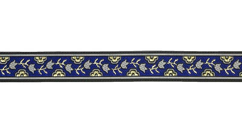 5/8 Woven Trim Royal/Black/Gold