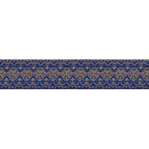 1 1/8 Woven Trim Blue/Silver/Multi
