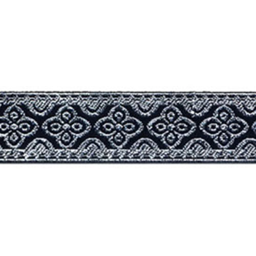 13/16 Woven Trim Metallic Silver/Black