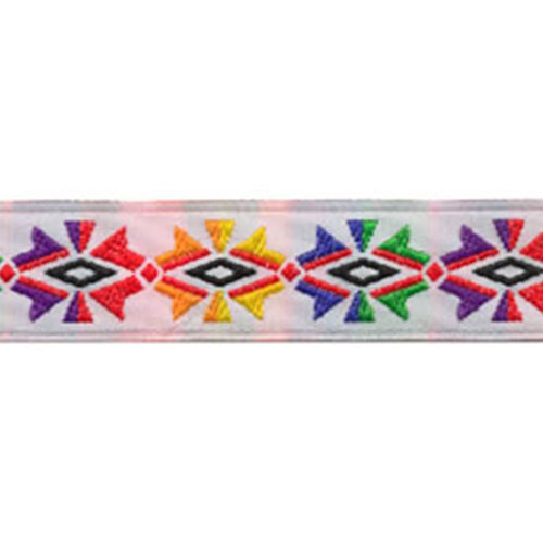 3/4 Woven Trim Sunburst White/Multi