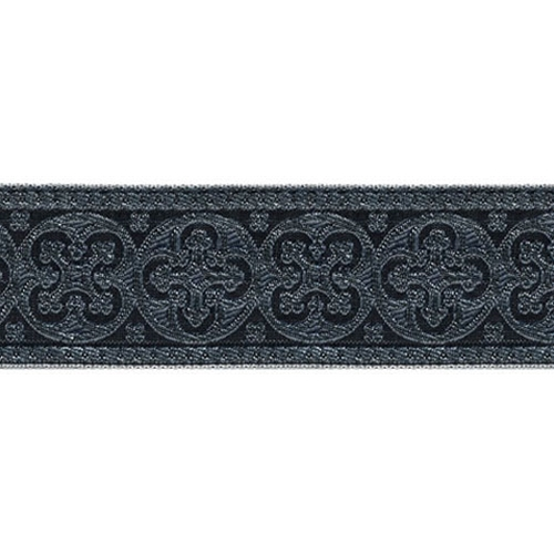 1 5/8 Woven Trim Cross Silver/Black