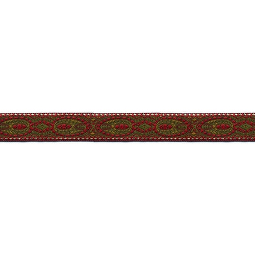 5/8 Woven Trim Oval  Red/Mustard/Olive/Gold