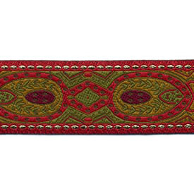 1 1/4 Woven Trim  Red/Mustard/Olive/Gold