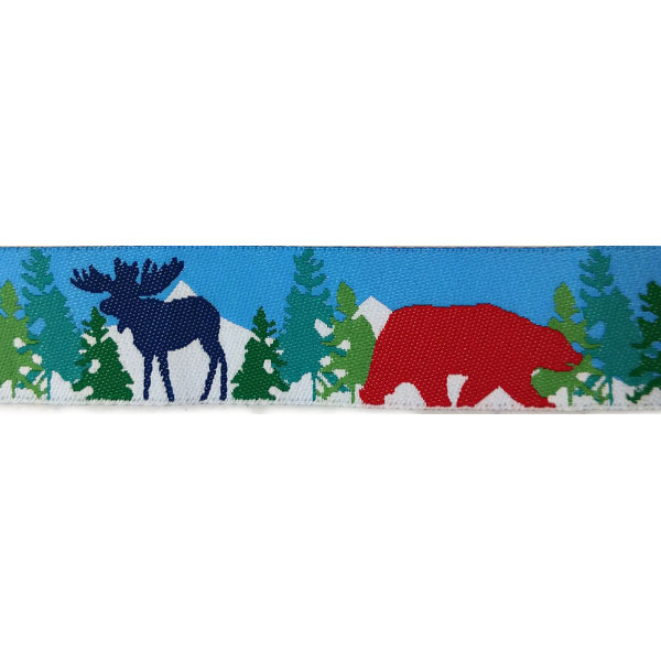 7/8 Woven Trim AK Red Bear Blue Moose