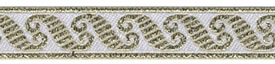 1/2 Woven Trim Metallic White/Silver