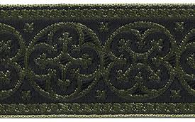 1 5/8 Woven Trim Cross Gold/Black