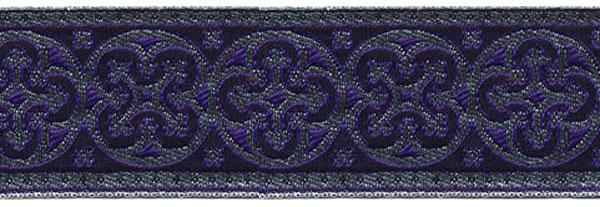 1 5/8 Woven Trim Cross Silver/Purple