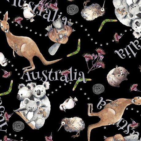 Animal Toss Black - Kiwis and Koalas
