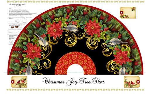 Christmas Joy 4692PMW-99 Black Tree Skirt Panel