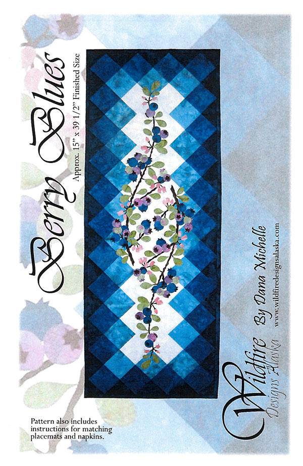Berry Blues Table Runner Pattern by Wildfire Designs