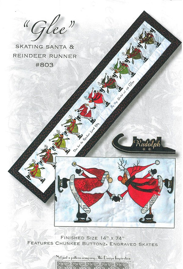 Glee Skating Santa and Reindeer Pattern