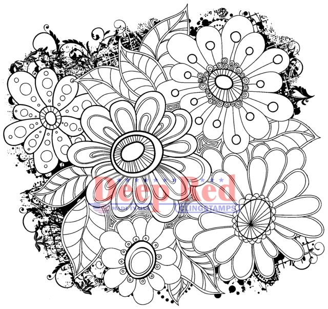 Color Me Daisies Deep Red Cling Stamp