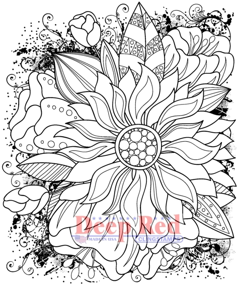 Color Me Sunflower Deep Red Cling Stamp