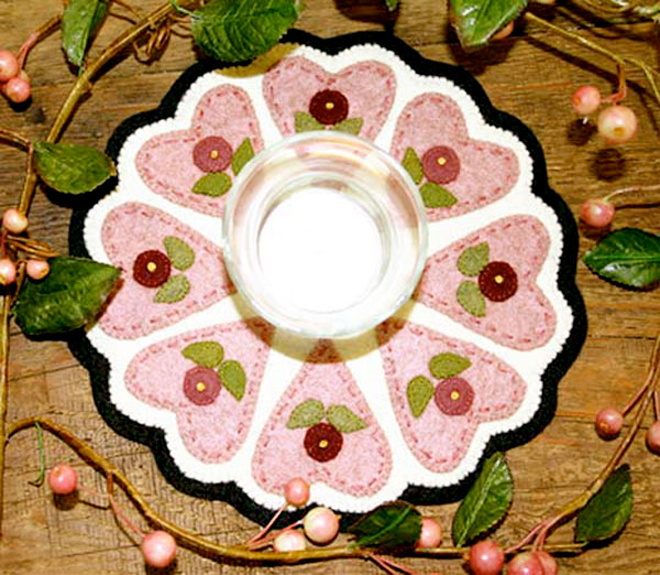 Bareroots Hearts & Flowers Candle Mat Kit With Pattern