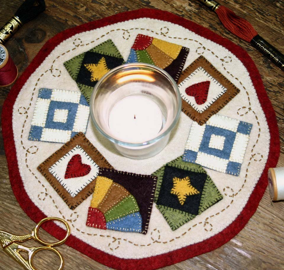 Bareroots Quilt Block Candle Mat Kit with Pattern