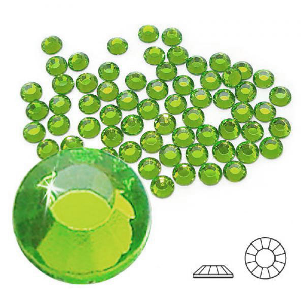 4mm Hot Fix Crystals Peridot 100ct