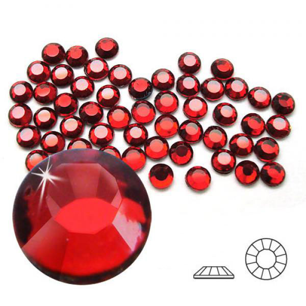 4mm Hot Fix Crystals Siam Ruby 100ct