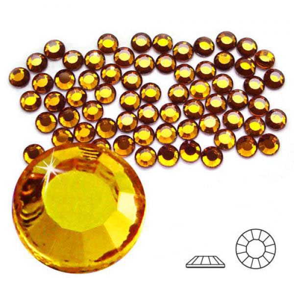 4mm Hot Fix Crystals Topaz 100ct